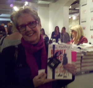 Boomer broad (me), left with my new BFF, Helen Fielding (blonde, right) at her book signing last night.