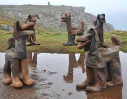 If your old rubber boots are beyond repair, turn them into an art installation.
